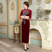 Wholesale Cheongsam Sequin - 2017 New high quality plus size 3 4 long sleeve 100%velvet embroidery flower purple blue green wine red long cheongsam wedding dress qipao