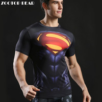 Wholesale Novelty Muscle Shirts - Wholesale- Superhero Tops Men Compression Bodybuilding T shirts Muscle Fitness Streetwear Black Fashion Casual T-shirts 2017 ZOOTOP BEAR