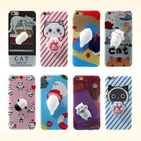 TPU case funny - Fashion Squishy Funny Cute Cat Cartoon Soft TPU Phone Case Back Cover For Iphone s plus S SE