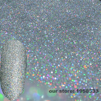 Wholesale Sparkly Nail Tips - Wholesale- Holographic Laser Silver Glitter Dust Powder 0.2mm 1 128'' Sparkly Nails Body Art DIY Tips UV Acrylic Decoration N32