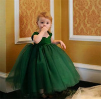 Wholesale Cheapest Birthday Pink Purple - Gilrs Puffy Dresses Vestidos Comunion Ninas 2017 Cheapest Green Tulle Lovely Ball Gown Flower Girls Dresses
