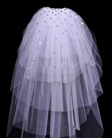 Wholesale Crystal Shoulder Wedding Accessories - Cheap In Stock Bridal Veils Cut Edge Tulle Beaded Crystal White Wedding Accessory Elegant Hot Sale 2017