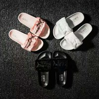 Wholesale High Beach Sandals - Leadcat Fenty Rihanna Shoes Women Slippers Indoor Sandals Girls Fashion Scuffs Pink Black White Grey Fur Slides Without Box High Quality