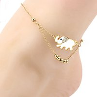 Wholesale Sandals Diamond Beads - Elegant Gold Color Elephant Beads Anklet Women Rhinestones Foot Chain Ankle Bracelet Sandal Beach Foot Anklet Gift