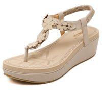sandalias planas de hebilla de cinturón al por mayor-2017 Nuevo Coreano Elastic Belt Buckle Slope Con Sandalias Zapatos Tanga Sandalias Zapatos Mujer Cuero PU Sandalias planas
