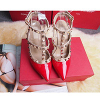 Wholesale Beige Dance Shoes - 2017 Designer women high heels party fashion rivets girls sexy pointed shoes Dance shoes wedding shoes Double straps sandals