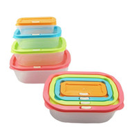 Wholesale fresh food storage box resale online - Plastic Lunch Box Rectangle With Lids Keep Fresh Lunchbox For Outdoor Picnic Portable Storage Boxes Colorful tt B
