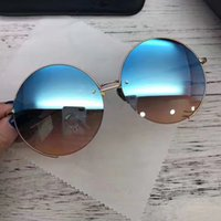 Wholesale brown linda - LF627 Linda Farrow Luxury Fashiong Sunglasses With Coating Mirror Lens UV Protection Women Brand Designer Vintage Round Frame Top Quality
