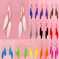 Discount white 12 light chandelier - Feather Earrings 12 Colors wholesale lots Cute Bead Gold Color Hook Charm Chain Light Dangle Eardrop (White Black Gray Brown Blue)(JF124)