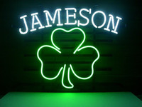 Wholesale Real Shamrock - Fashion Handcraft Jameson Irish Whiskey Shamrock Real Glass Beer Bar Pub Display neon sign 19x15!!!Best Offer!