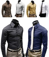 Wholesale Decent Dresses - Men's dress Shirt Casual Decent Long Sleeve Turn-down Collar Shirts Business six colors M L XL XXL Euramerican style mix order new fashion