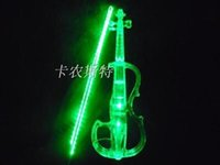 Wholesale Electro Acoustic - Wholesale-Crystal Acrylic Violin Green Led Electronic Violin Electro-acoustic Violin 4 4,B Style