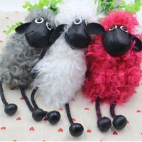 Wholesale Shaun Sheep Lamb - 2017 Hot Sell Sheep Shaun Key chain Pom pom real lambs wool fur genuine keychain Car Key Ring Monster Keychain Jewelry Gift