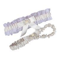 kadınlar için garterler toptan satış-Ücretsiz Kargo Beyaz Fildişi Düğün Bacak Garters Elastik Dantel Seksi Kadınsı Kristaller Yay Kadın Lady Sheer Vintage Gelin Aksesuarları