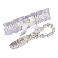 señoras ligas al por mayor-Envío gratis blanco marfil boda ligas de la pierna de encaje elástico sexy cristales femeninos arco mujeres dama pura vintage accesorios nupciales