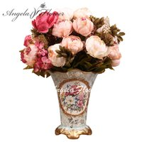 Barato Flores De Outono Artificiais Atacado-Atacado de flores de seda europeus 1pcs Bouquet Artificial Queda Vivid Peony Fake Folha Casamento Home Party Decoration