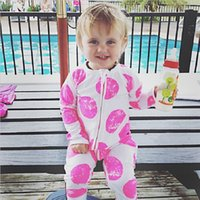 Wholesale Girls Overalls Summer - 2017 Autumn Zipper Newborn Clothes Baby Girls Pajamas Romper Boys Sleepwear Cotton Jumpsuit Infant Overall Top Quality Bebe Roupas Shirt