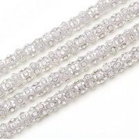 Wholesale Ss28 Rhinestone Chain - ffree shippment!SS28 6mm 5yards lots 888 sew on Crystal Clear Handmade Flower Cup Rhinestone Chain lace Super Shiny Glitter Rope