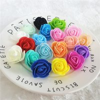 Wholesale Pink Foam Rose Flower - 100pcs 3cm Mini PE Foam Artificial Rose Head Flowers For Wedding Car Decoration DIY Wreath Decorative Scrapbooking Fake Flowers