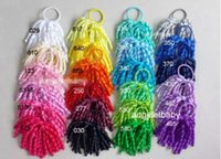 Wholesale ponytail streamers - Girl O A-korker Ponytail various color korker ribbons streamers hair bows with elastic corker Curly ribbon hair clip 20PCS