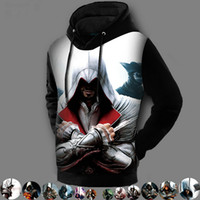 Assasins creed Pas Cher-Vente en gros - Mode hiver Chemisier imprimé en 3D Assassins Creed Hoodie Vestes Chaussures assiment Creed Sweat à capuche polaire