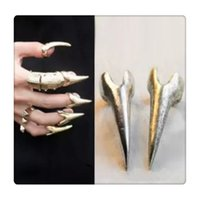Wholesale Metal Spiked Tip - Rock Style Finger Rings Gothic Punk Talon Spike Claw Silver Plated Metal Finger Tip Ring Nail Art Decoration Women Claw Free DHL