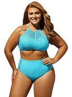 Wholesale Crochet Swimsuit Plus Size - Plus Size Swimwear 2017 Chubby Women Large Size Two Piece Bikini Set Colorful Crochet swimwear Summer Beach Wear Swimsuit Bathing Suit