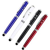lápiz táctil táctil stylus al por mayor-4 en 1 puntero láser LED antorcha pantalla táctil Stylus Ball Pen para teléfono inteligente Drop Shipping Wholesale