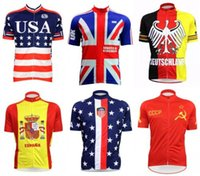 Wholesale Cycling Jerseys Uk - 2017 New USA Cycling Clothing Germany Spain UK USA National Team MTB Bike Jersey Tops