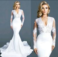 Wholesale Elegant Bridal Wedding Dress Satin - Sexy Lace 2017 Arabic Wedding Dresses Deep V-neck Long Sleeves Mermaid Satin Bridal Dresses Vintage Cheap Elegant Wedding Gowns