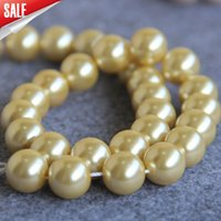 Wholesale 15inch Necklace - New For Necklace&Bracelet Accessories 14mm Light Yellow Shell pearl Seashell gift for women girl loose beads Jewelry 15inch