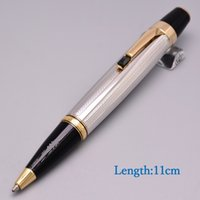 Wholesale mini metal ballpoint pens resale online - New Mini Bohemi Metal Carving MB Ballpoint Pen With Stone Clip Stationery Business Office Supplies Write Brand Cute School Pens For Gift