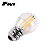 Wholesale Wholesale Vintage Edison Light Bulb - 4pcs lot Glass Led Filament Bulb Home Lighting Dimmable 220V 2W 4W Globe Bulb COB E27 G45 Edison Vintage Ampoule Led Lamp Light