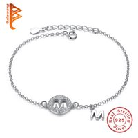 Wholesale Letter M Charm Sterling - BELAWANG Original 925 Sterling Silver Bracelet Crystal Two Pendants With Capital Letter M Charm Bracelet for Mother's Day Fashion Jewelry