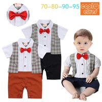 Wholesale Wholesale Cotton Ties For Boys - New Plaid gentry bow tie boys Rompers Bodysuits Baby Onesies Newborn Romper Infant Jumpsuit Rompers For Babies One Piece Clothing A693