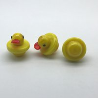 Atacado Glass Carb Caps Yellow Duck Style UFO Cap Com 25mm OD para XL Flat Top Quartz Banger Nails