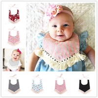 Wholesale Cloth Mouth - INS Baby cotton bibs Infant Kids Burp Cloths triangular binder girls boys Stripe Dot Mouth bib with tassel floral adjustable Bibs KSF01