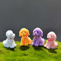 ingrosso ornamenti da giardino cane-2pcs misto mini carino cane resina artigianato fai da te in miniatura fata giardino arredamento resina animale figurine micro paesaggio ornamento