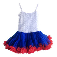 Wholesale Royal Blue Suspenders - Kids Dresses For Girls 2016 July 4th Girl Summer Dress White Royal Blue Red Floral Rose Dresses Girls Clothes Tutu Dress