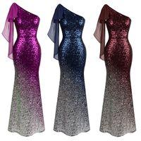 Wholesale Dress Sleeveless Asymmetric - Angel-fashions Women's Asymmetric Ribbon Gradual Sequin Mermaid Prom Dress Evening Gown Formal Dress 286