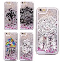 Mais recente Quicksand licor mandala telefone caso para Iphone 7 Iphone 7 mais colorido flor Clear Phone Cases PU Hard Back Cover
