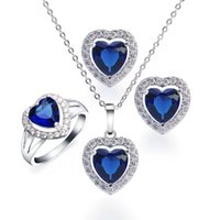 Wholesale Ocean Heart Jewelry Sets - Women Sapphire Necklace Earrings Ring Size 7 Sterling Silver Ocean Blue Topaz Genuine White Topaz Jewelry Sets Charms Gifts BTZ000012