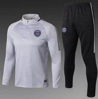 Wholesale Psg Jacket - Top Quality 2017 2018 PSG Adults soccer jerseys jacket chandal football tracksuit NEYMAR JR PSG 17 18 Men black training suit Sportsw kits