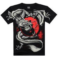 Wholesale Heavy Metal China - Wholesale- 2016 Summer Fashion China Tai Chi T shirt Dragon Rock cotton men Tshirt Black short sleeve 3D Print Heavy Metal Style sleeve