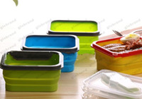 Wholesale Camping Food Containers - 600ml Foldable Silicone Lunch Boxes with Fork Food Storage Containers Household Food Fruits Holder Camping Road Trip Portable Houseware MYY