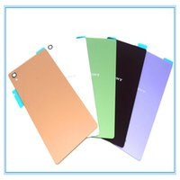 Wholesale Xperia Battery Cover - White Black Gold Green Replacement Back Glass Rear Cover For Sony Xperia Z3 L55W D6603 D6653 Battery Door Housing With Sticker and Logo