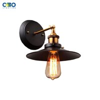 Wholesale Outdoor Lamp Shades - Vintage Simple Black Iron Shade Wall Lamp Bar Club Indoor Bedroom Outdoor Wall Lighting E27 Lamp Holder 110-240V Free Shipping