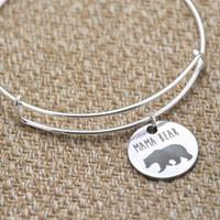 ingrosso braccialetto del braccialetto dell'orso-Mama orsetto bracciale bangles argento tono argento festa della mamma regalo di natale