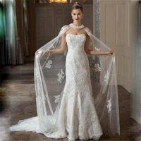 Wholesale tulle bridal jacket cape - 2017 New White Ivory Long Wedding Capes Cloaks Tulle Appliques Lace Custom Bridal Boleros Jackets Wraps