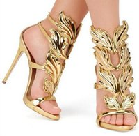 Wholesale Silver Strappy Wedding High Heels - Golden Metal Wings Leaf Strappy Dress Sandal Silver Gold Red Gladiator High Heels Shoes Women Metallic Winged Sandals with box and dustbag